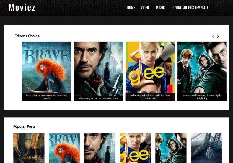 Moviez Blogger Template